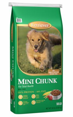 Find Retriever Mini Chunk Dog Food 50 Lb Bag In The Dry Dog Food Category At Tractor Supply Co B Nutrition For Acti Dog Food Recipes Food Animals Dog Health