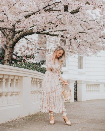 Sunday best! My favourite spring #ootd - a pink floral midi dress and a gorgeous basket bag! { affiliate }  http://liketk.it/2APvO #liketkit @liketoknow.it #LTKeurope #LTKunder100 #LTKwedding
