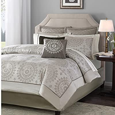 Amazon Com Madison Park Tiburon Queen Size Bed Comforter Set Bed In A Bag Taupe Jacquard 12 Pieces Bedding S Comforter Sets Bed Comforter Sets Duvet Sets