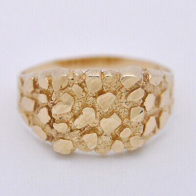 10k Yellow Gold Mens Nugget Ring 3 11g Size 11 In 2020 Gold Yellow Gold Rings