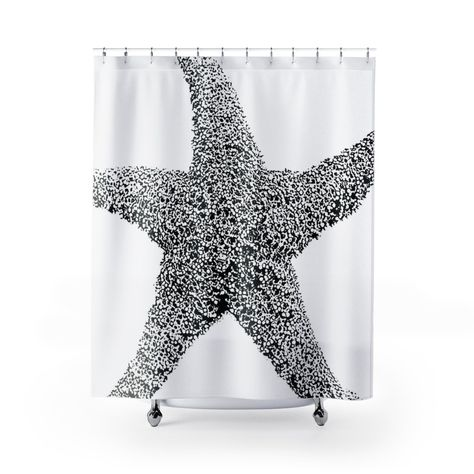 Black And White Art Print Starfish Shower Curtain Modern Beach Decor White Art Fabric Shower Curtains