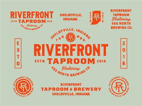 Riverfront Taproom designed by Zane Kaiser. Connect with them on Dribbble; Typography Logo, Typography Design, Beer Label Design, Identity Design, Identity Branding, Corporate Identity, Brochure Design, Visual Identity, Restaurant Branding