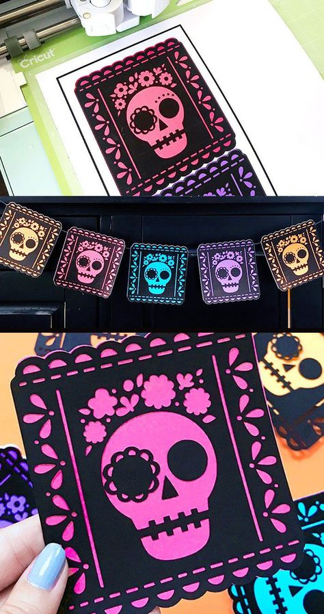 Dia de Muertos Picado Banner SVG - 100 Directions Dia de Muertos decor free cut file by Jen Goode Plus more free files to create all kinds of Halloween and Day of the Dead DIY Projects. Day Of The Dead Diy, Day Of The Dead Party, Halloween Banner, Halloween Crafts, Halloween Decorations, Halloween Stuff, Halloween Makeup, Halloween Costumes, Helloween Party