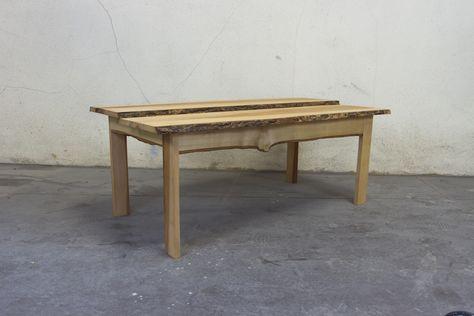 Table Basse En Frene Massif Couleur Naturelle Et Chant Brut Avec