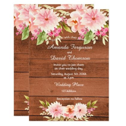 Wedding coral peach dahlia flowers rustic wall invitation