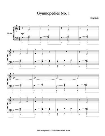 Erik Satie S Gymnopedies No 1 Level 2 Piano Sheet Music With