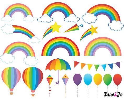 60 Rainbow ClipartDigital Rainbow Clip Artcloud clipartSky | Etsy