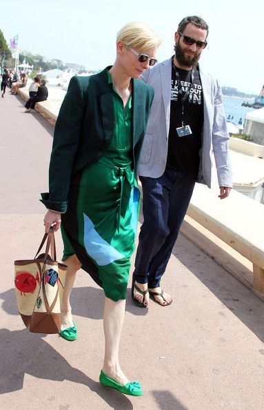 Tilda Swinton in Famke Janssen Shops in Cannes