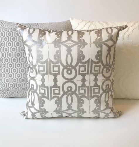 Metallic Silver And White Geometric Trellis Fretwork Decorative Inspiration Fretwork Decorative Pillow