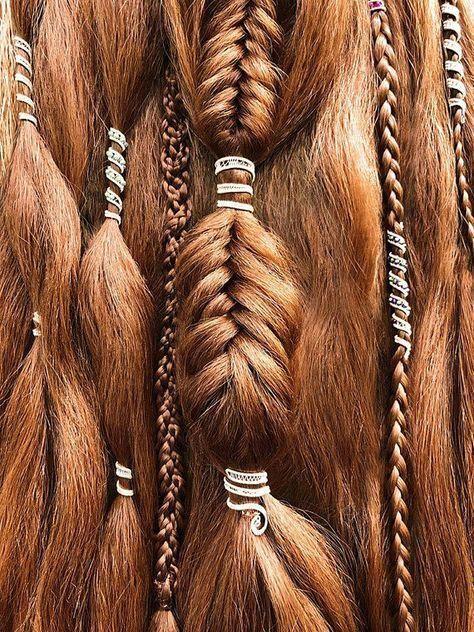 Dreadlock Beads Set – 3 Haircuff Set – Dread Beads, Custom Set of Hair Beads for Dreads, Hair Jewelry for Dreadlocks, Dreadlock Cuff Set - Hair Style 2019 Dreadlock Jewelry, Loc Jewelry, Viking Jewelry, Hair Jewelry For Braids, Hair Clips For Braids, Dread Hair, Baby Jewelry, Dread Beads