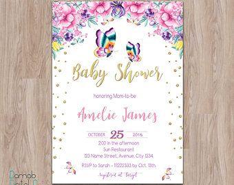 Erfly Baby Shower Invitation Fl
