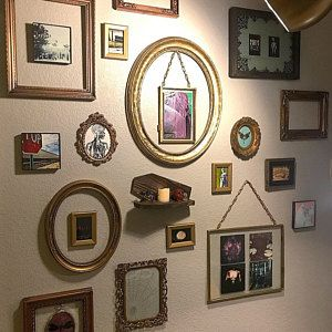 Set Of 12 Gold Mirrors Ready To Hang Wall Collage Mirror Gallery Gold Decor Wedding Decor In 2020 Wall Collage Gallery Wall Mirror