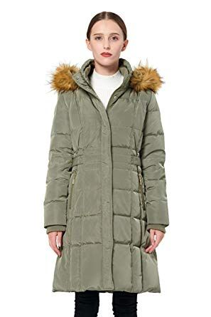 Polydeer Womens Vegan Down Hooded Waterproof Jacket,Classic Puffer Thickened Winter Coat with Faux Fur Full Zip Warm Parka