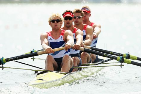 Alex Gregory, P Reed, T James, Andrew Triggs Hodge winning gold in rowing at London 2012