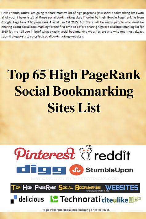 Top 65 High PR & Free Social Bookmarking Sites List 2016