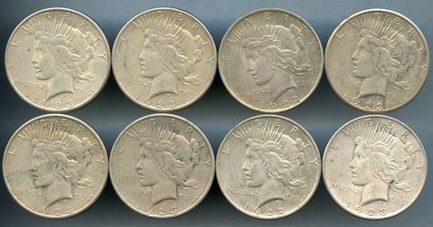 Lot of 5 Peace Silver Dollars 1922 1922-D 1922-S 1923 1923-S Circulated
