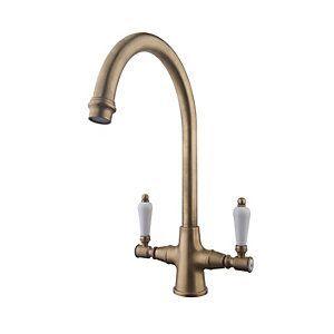 173900 Wickes Zores Monobloc Kitchen Sink Mixer Tap Antique Brass Brushed Brushedchrom Antique Brass Kitchen Faucet Brass Kitchen Tap Brass Kitchen Faucet