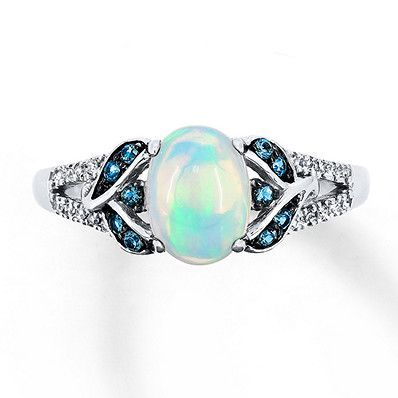 Natural Opal Ring 1 15 Ct Tw Diamonds 10k White Gold Opal Rings Diamond Wedding Rings Diamond Wedding Bands