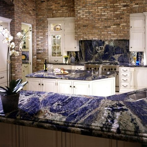 Sodalite Blue Granite Countertops And Backsplash Incredible Texture Multiple Colors