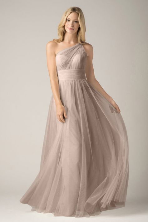 Wishesbridal Grey Tulle One Shoulder Floor Length #Princess Maternity #BridesmaidDress B1wa0019