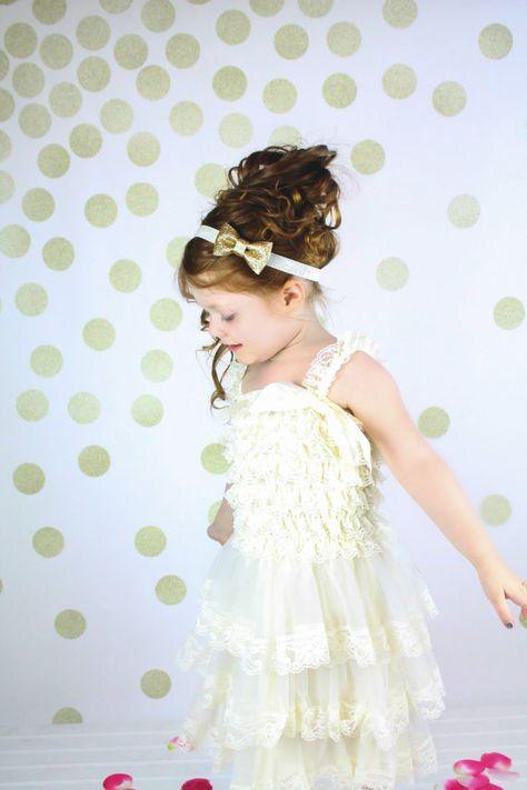 Ivory Lace Flower Girl Petti Dress and Matching Headband