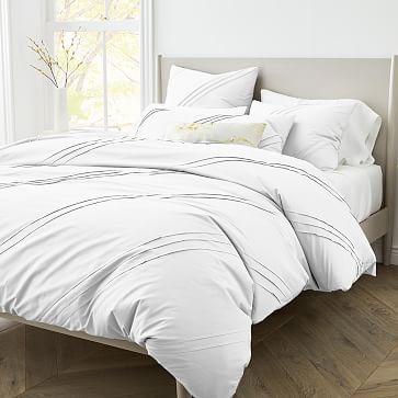 400 Thread Count Organic Percale Pleated Duvet Cover Shams In 2021 Modern Duvet Covers Duvet Covers White Duvet Covers