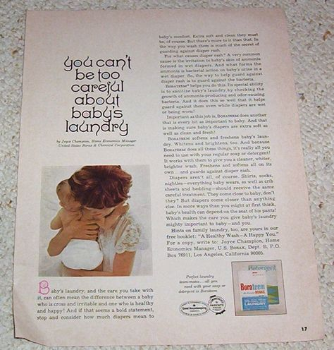 1966 Borax Baby Diaper Laundry Soap Ad Baby Care Cloth Diapers