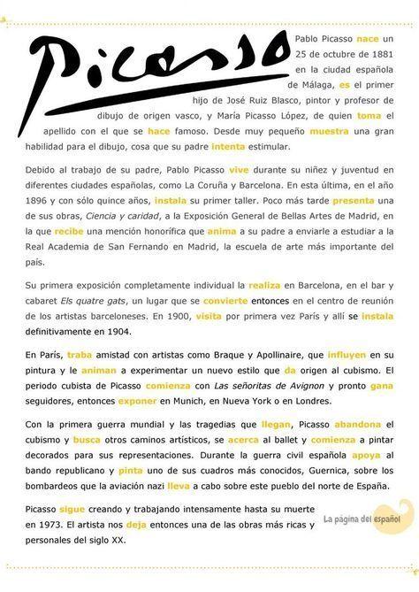 Picasso Con El Preterito Indefinido Textos En Espanol Aprender