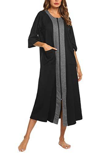 Ekouaer Women Zipper Robe Half Sleeve