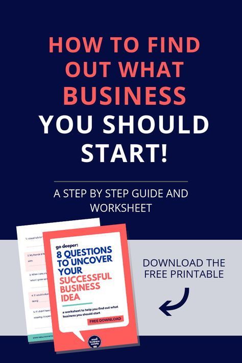 What business should I start? Download the free printable worksheet that will help you discover your passion that can be turned into a profitable business or side hustle. Click for the quiz  organize your thoughts. Choose what products you'll sell or services you'll offer. Entrepreneur tips on how to find what kind of small business to open. Find out if you should open a virtual, online or local store or shop. #startabusiness #businesstips #businessideas #startups #smallbusiness