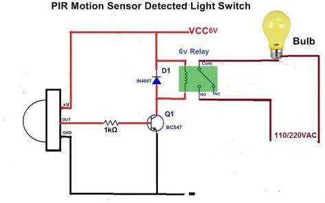 Motion Sensor Light Using Led Bulb And Pir Sensor Gillanidata Com Esquemas Eletronicos Circuito Eletronico Componentes Eletronicos
