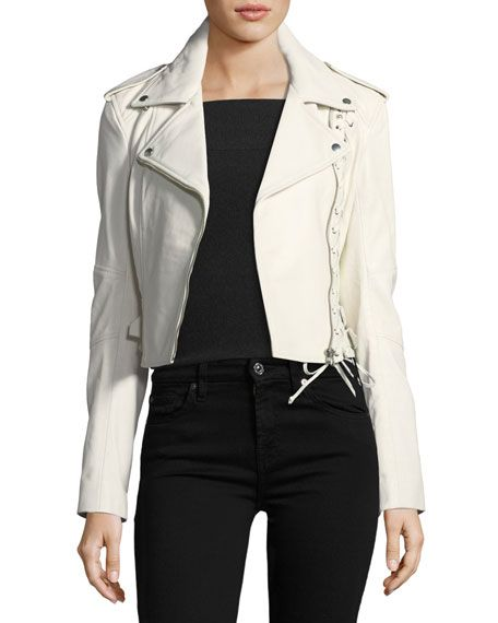 Mcq Alexander Mcqueen Jacket 59 Lace Up Off White Leather Jacket Mod And Retro Clothing White Leather Jacket Leather Jacket Clothes