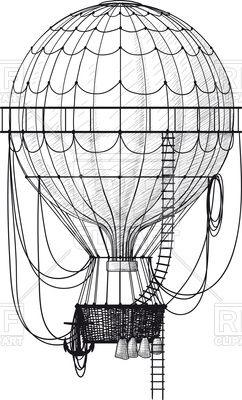 Download – Vintage hot air balloon with ladder Vector Artwork – Vector Graphics © sharpner #113491