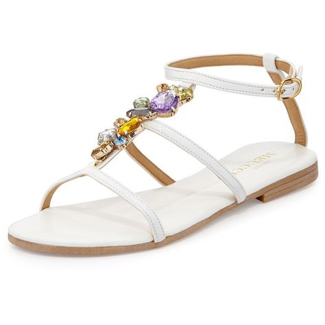 Sesto Meucci Calley Rhinestone-Embellished Sandal ($53) ❤ liked on Polyvore featuring shoes, sandals, white, t strap shoes, white flats, white ankle strap sandals, white t strap sandals and ankle strap flats