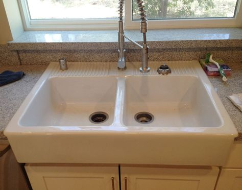 Gentil I Was Really Excited To Use A Domsjo Double Bowl U201cfarmhouseu201d Style Kitchen  Sink In Our New Kitchen. Although It Comes With One Hole Pre Drilled In The  ...