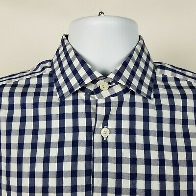 Details About Charles Tyrwhitt Mens Blue White Gingham Check Dress Button Shirt Size 15 5 39 In 2020 Button Shirt Button Dress Blue White Striped Dress
