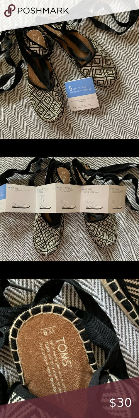 Toms Shoes 80% OFF!> NWOT Toms Bella Espadrilles with directions! NWOT espadrilles with directions for 5 different ways to wear them! Cool geometric but neutral pattern to wear with everything. Toms Shoes Espadrilles #Toms #Tomsshoes #shoes #style #Accessories #shopping #styles #outfit #pretty #girl #girls #beauty #beautiful #me #cute #stylish #design #fashion #outfits #diy #design