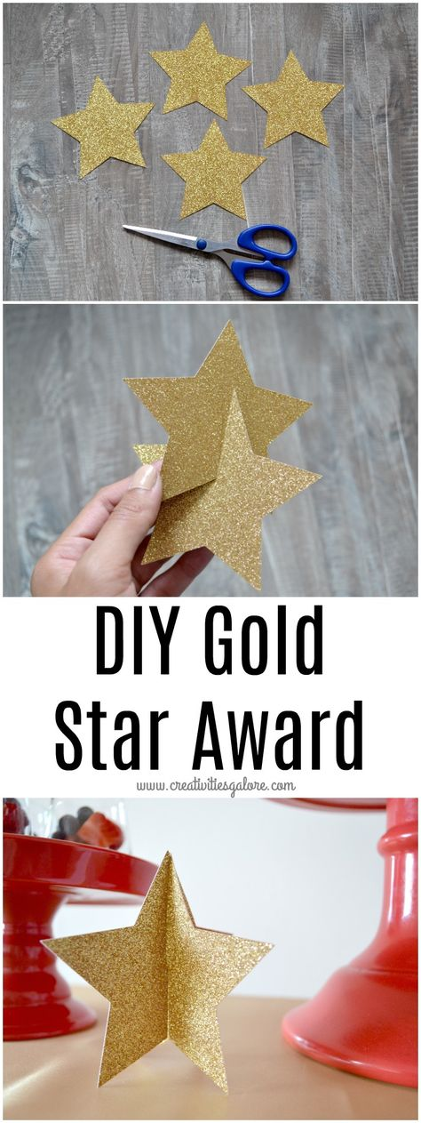 If you are planning an award show viewing party, this quick and easy diy gold st. If you are planning an award show viewing party, this quick and easy diy gold star award is perfect for you to give out to your friends upon their arr. Gold Party Decorations, Diy Party Decorations, Party Themes, Party Ideas, Movie Theme Decorations, Diy Christmas Table Decorations, Hollywood Party Decorations, Aniversario Star Wars, Music Themed Parties