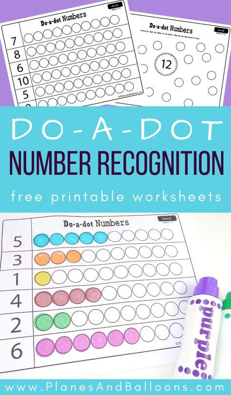 Free printable number recognition worksheets for numbers 1-20. Fun math printables for kindergarten and preschool. Fun dot marker activity for kids. #prek #kindergarten #math #planesandballoons