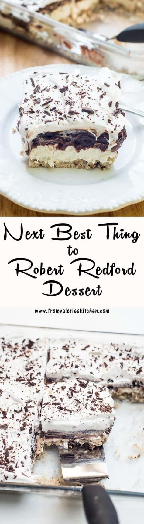 The Next Best Thing to Robert Redford Dessert is full of layers of creamy, chocolatygoodness on top of a pecan shortbread crust. This throwback to the 70's dessertis a fun choice for parties and potlucks. #robertredforddessert #easydesserts #potluckrecipes