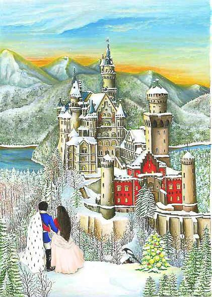 From Brück and Sohn (Printers in Meissen, Germany since 1793) a charming Advent Calendar of showing Bavarian King Ludwig II standing before Nauschwanstein Castle in Germany. This delightful advent calendar is 10