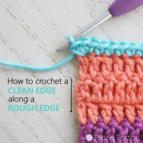 Maybe it's a blanket border. Maybe it's around a dishcloth or sweater. Or maybe along the edge of a scarf or cowl. But anytime you are instructed in a pattern to # how to crochet a border on a blanket How To Crochet a Clean Edge Along a Rough Edge Crochet Border Patterns, Crochet Blanket Border, Crochet Stitches, Baby Knitting Patterns, Crochet Edgings, Loom Knitting, Cross Stitches, Loom Patterns, Crochet Motif