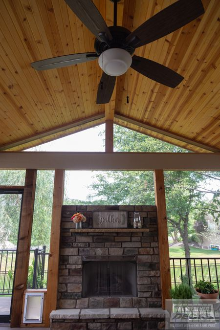 Gable Roof Over Deck Screened In Deck Fireplace In 2020 Patio Pictures Patio Oasis Ideas Covered Decks