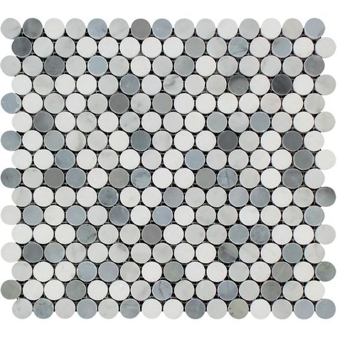 love the color Thassos White Honed Marble Penny Round Mosaic Tile (Carrara + Thassos + Blue-Gray) Sample