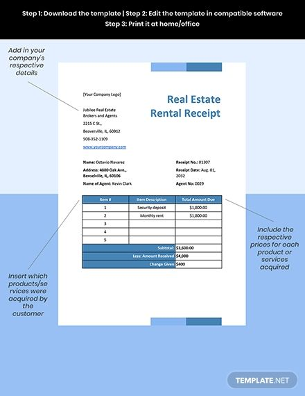 Real Estate Rental Receipt Template Free Pdf Word Excel Apple Pages Google Docs Google Sheets Apple Numbers Receipt Template Templates Printable Free Document Templates
