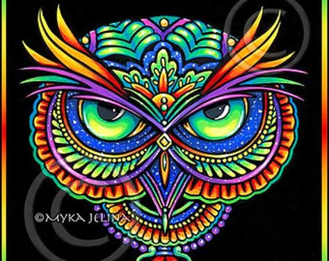 Psychedelic Rainbow Owl Trippy Hippie Owleister Signed inch prints in my Etsy shop.