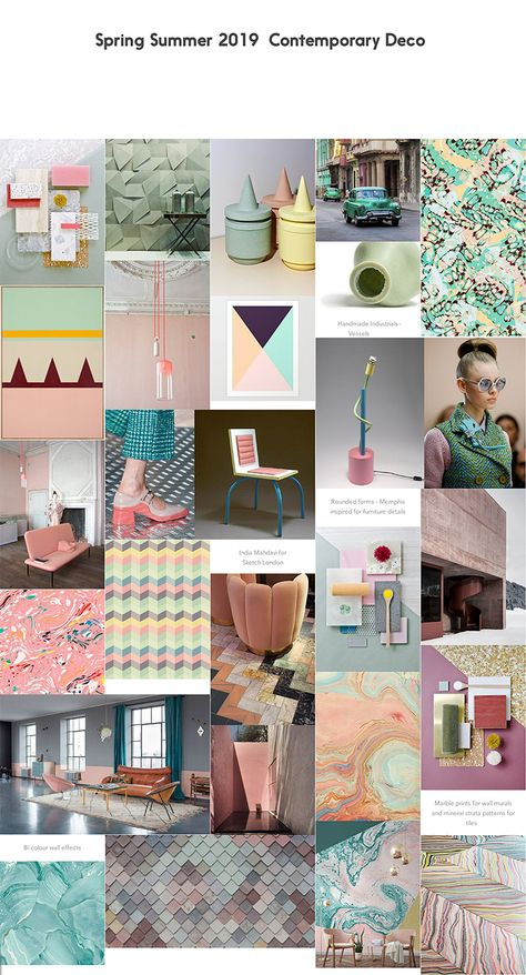 Colour and trend forecasting for interiors/home trends for Spring/Summer 2019, including colour palettes and trend boards.
