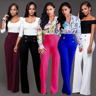 Fashion Women Solid Candy Colors Club Casual Long Trousers Bell-Bottoms Pants