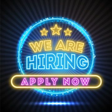 We Are Hiring Creative Neon Lights Design Hire Job Offer Work Png And Vector With Transparent Background For Free Download We Are Hiring Neon Neon Lighting