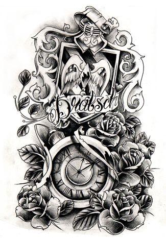 Commission Crest And Clock Clock Tattoo Clock Tattoo Design Tattoo Sleeve Designs